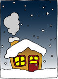 Winter house. House under snow in the night Royalty Free Stock Photos