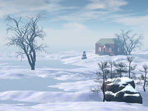 Winter house. House and tree in snow-drift village landscape 3d rendered Stock Image