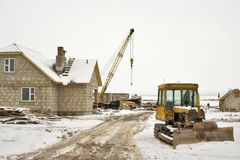 Winter house building Royalty Free Stock Image