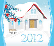 Winter house. Christmas card Stock Photo