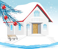 Winter house. Composition for Christmas card. Illustration Stock Photo