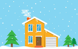 Winter house. day. Family suburban home Royalty Free Stock Photos