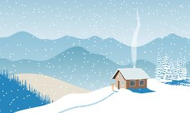 Winter with house, distant mountains, skies, snow, Snow flurry, sun light, chimney smoke, forest, ski run. Snow flurry, Fir tree. Vector illustration For royalty free illustration