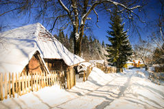 Winter house in forest Stock Image