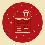 Winter house icon in thin line style. Stock Photography