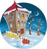 Winter house with illuminated windows. moon, trees Stock Image