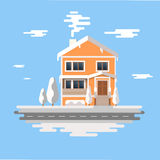 Winter house . image of the orange brick christmas houses covered with snow. background cartoon . time. Royalty Free Stock Photo