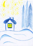 Winter house, kids drawing Royalty Free Stock Photography