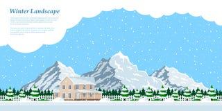 Winter house landscape Stock Image