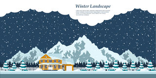 Winter house landscape. Picture of winter landscape with private house, snow-covered firs, falling snow and mountains on background Stock Photo