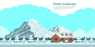 Winter house landscape Royalty Free Stock Photos