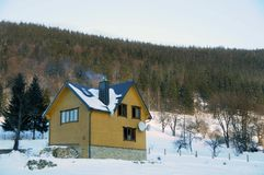 Winter house in the mountains stock image