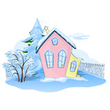 Winter house. Pink-yellow house in winter Royalty Free Stock Image