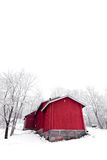 Red House. Cold winter snow Stock Photo