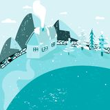 Blue colours snowy scene in mountains. stock illustration