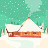 Winter House Snow Forest Flat Vector. Illustration Royalty Free Stock Images