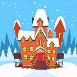 Winter House Snow Forest Tree Flat Vector Stock Photography