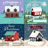 Winter house snow landscape illustration. Winter mountain home xmas decoration outdoor building in snow forest set. Winter landscape christmas holiday season Royalty Free Stock Images