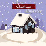 Winter house snow landscape vector illustration. Winter mountain home xmas decoration outdoor building in snow forest. Winter landscape christmas holiday season Stock Photo