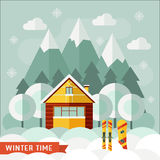 Winter House Snowboarding and Skiing Sports Concept Royalty Free Stock Photo