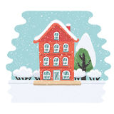Winter house on snowy landskape vector illustration