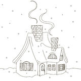 Winter house. Vector illustration, black contour isolated on white background Royalty Free Stock Photo