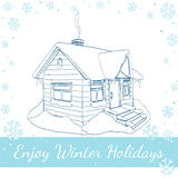 Winter House. Vector Illustration On White Royalty Free Stock Images