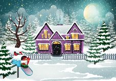 Winter house stock illustration