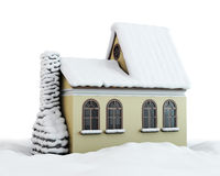 Winter house on a white Stock Photography