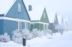 Winter Houses. Villas in a extremely cold and frosty winter conditions Royalty Free Stock Images