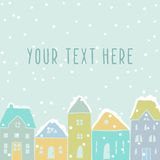 Winter houses card template. Vector hand drawn illustration. Winter houses snowfall Royalty Free Stock Images