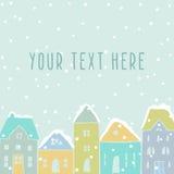 Winter houses card template. Vector hand drawn illustration. Winter houses snowfall stock illustration