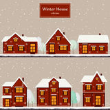 Winter houses collection Royalty Free Stock Photos