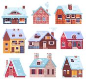 Winter Houses and Cottages Set. Winter houses collection. Cartoon snow home and rural cottages set. Including alpian chalet, mountain lodge, half-timbered house vector illustration