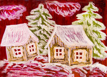 Winter houses on crimson, painting Royalty Free Stock Image
