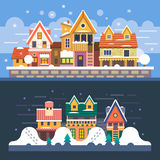Winter houses. Day and night Royalty Free Stock Photos