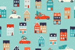 Free Winter Houses For Christmas And Red Retro Car With A Fir Tree And Gifts. Christmas Fabrics And Decor. Seamless Pattern. Royalty Free Stock Image - 162615796