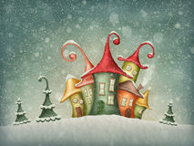 Winter houses. Illustration with winter houses and christmas trees Royalty Free Stock Photo