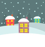 Winter houses illustration Stock Images