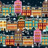 Winter houses seamless night Royalty Free Stock Photos