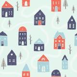 Winter houses seamless pattern. Vector EPS10 hand drawn winter houses seamless pattern royalty free illustration