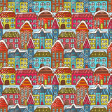 Winter houses seamless pattern Stock Photos