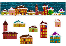Winter houses set Stock Image