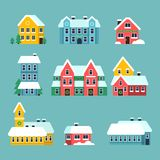 Winter houses. Urban xmas holidays snowy city snowflakes on the house roof vector cartoon set. Xmas house with snow, city urban decorated home illustration vector illustration