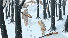 Digital drawing. Winter hunting. vector illustration