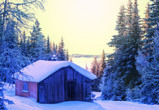 Winter hut Stock Images