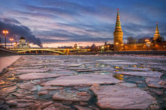 Winter ice drift. On the Moscow River near the Kremlin in a frosty night Royalty Free Stock Photography