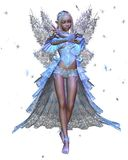 Winter Ice Fairy. Digital render of a Winter Ice Fairy with blue ice crystals Royalty Free Stock Photos