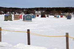 Winter Ice Fishing Shacks Stock Photography