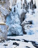Winter Ice Formations of Johnston Canyon, Banff National Park, Canada royalty free stock images